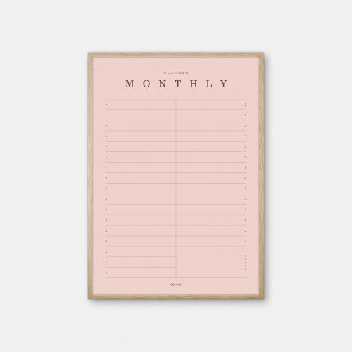 Gehalt-Monthly-Planner-Rose-Poster-Oak-Frame