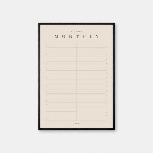 Gehalt-Monthly-Planner-Sand-Poster-Black-Painted-Frame