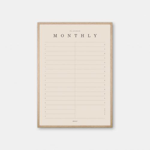 Gehalt-Monthly-Planner-Sand-Poster-Oak-Frame