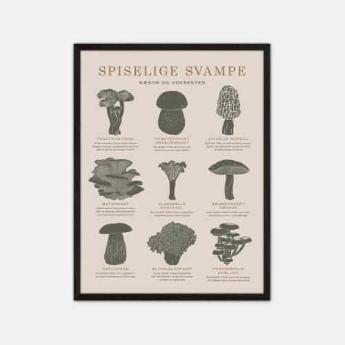 Gehalt-Spiselige-Svampe-Sand-Plakat-Sort-Ramme-30x40