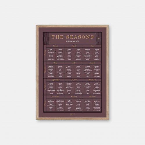 Gehalt-The-Seasons-Food-Guide-Burgundy-Poster-Oak-Frame
