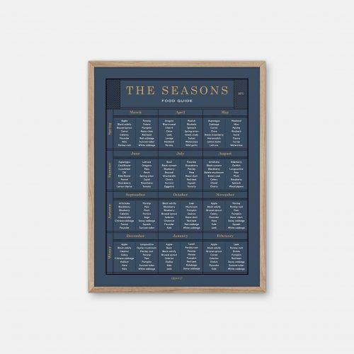 Gehalt-The-Seasons-Food-Guide-Darkblue-Poster-Oak-Frame