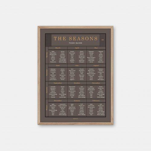 Gehalt-The-Seasons-Food-Guide-Earth-Poster-Oak-Frame