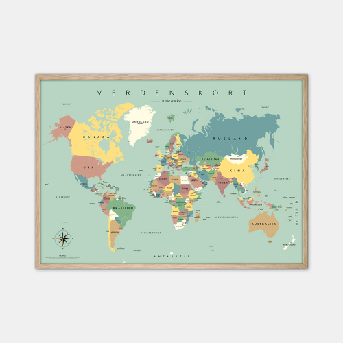 Gehalt-Verdenskort-Blaa-Plakat-Eg-Ramme-70x100-D