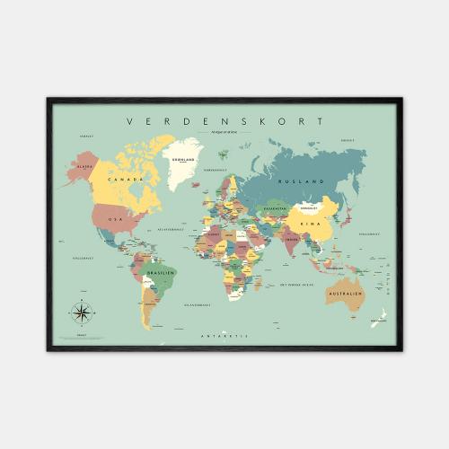 Gehalt-Verdenskort-Blaa-Plakat-Sort-Ramme-D