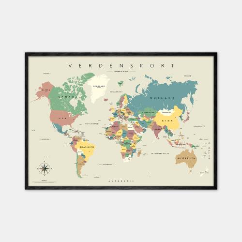 Gehalt-Verdenskort-Graa-Plakat-Sort-Ramme-70x100-D