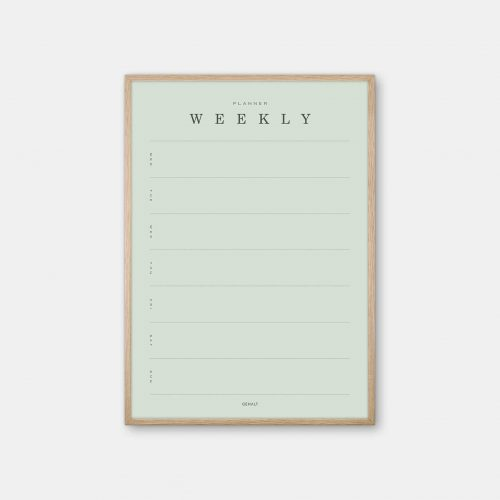 Gehalt-Weekly-Planner-Lightgreen-Poster-Oak-Frame
