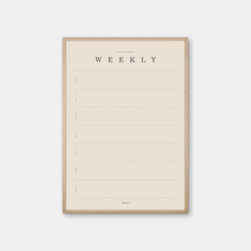 Gehalt-Weekly-Planner-Sand-Poster-Oak-Frame