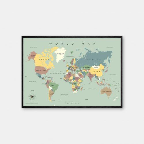 Gehalt-World-Map-Lightblue-Poster-Black-Painted-Frame