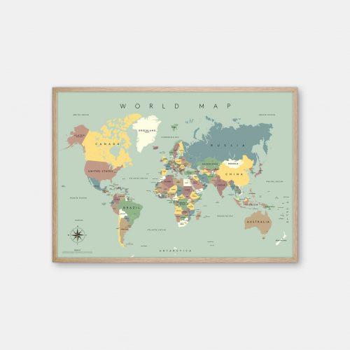 Gehalt-World-Map-Lightblue-Poster-Oak-Frame