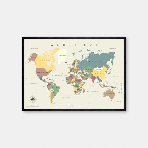Gehalt-World-Map-Lightgrey-Poster-Black-Painted-Frame