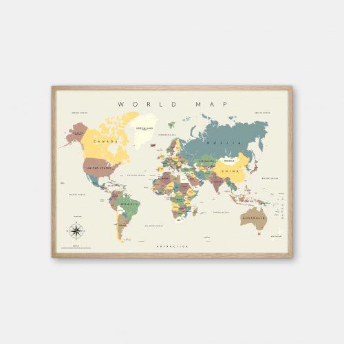 Gehalt-World-Map-Lightgrey-Poster-Oak-Frame