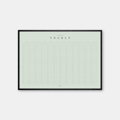 Gehalt-Yearly-Planner-Lightgreen-Poster-Black-Painted-Frame