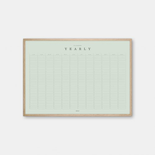 Gehalt-Yearly-Planner-Lightgreen-Poster-Oak-Frame