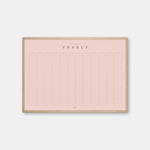 Gehalt-Yearly-Planner-Rose-Poster-Oak-Frame