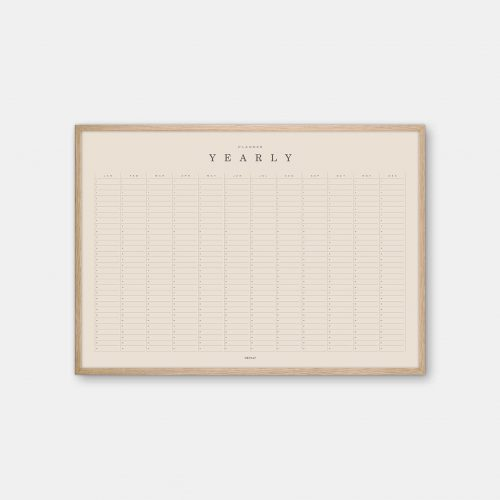 Gehalt-Yearly-Planner-Sand-Poster-Oak-Frame