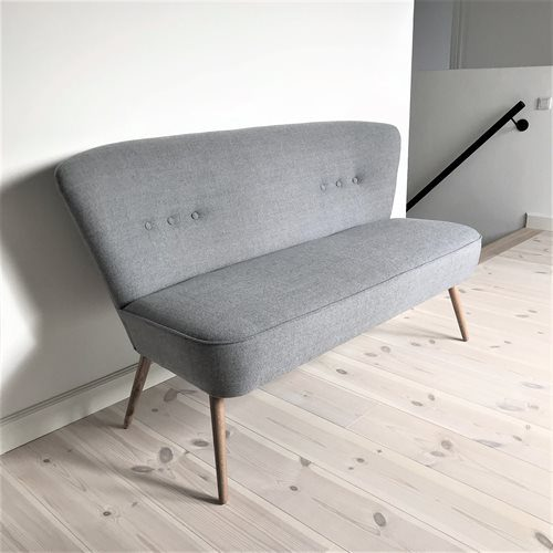 Lounge Sofa Lys Grå Træ Skrå Gulv -t