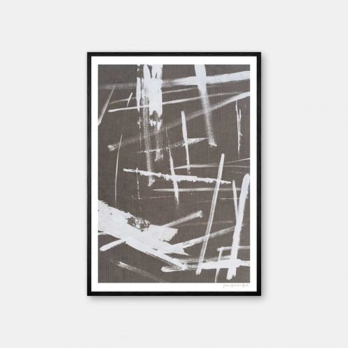 julia-hallstroem-abstract-white-plakat-sort-ramme