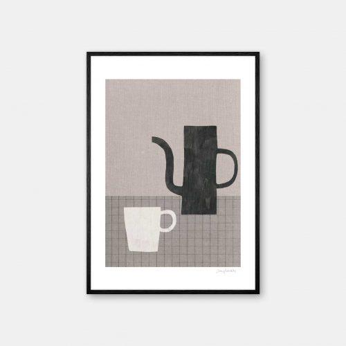 julia-hallstroem-coffee-plakat-sort-ramme