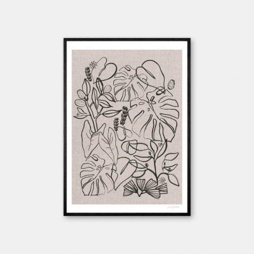 julia-hallstroem-garden-plakat-sort-ramme