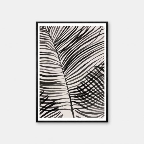 julia-hallstroem-palm-leaves-plakat-sort-ramme