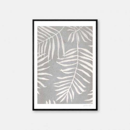 julia-hallstroem-white-leaves-plakat-sort-ramme